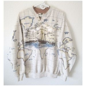 Other - Vintage Mens World Map Sweater